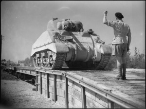 Taking delivery of a new tank from a railway siding at Maadi, Egypt, World War II - Photograph taken by George Kaye