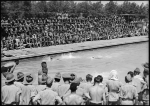 Race in progress at 5th NZ Infantry Brigade swimming sports at Maadi Baths, Egypt - Photograph taken by George Kaye