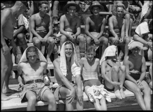Group of onlookers at the Divisional Swimming Sports at Maadi Baths, Egypt - Photograph taken by George Kaye