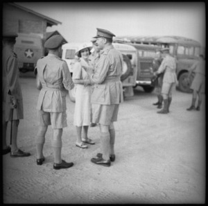 General and Lady Freyberg at the Cairo Airport on the arrival of the GOC from New Zealand - Photograph taken by G R Bull