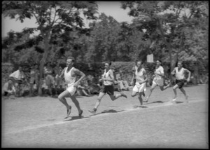 Race in progress at sports meeting between South African and New Zealand Artillerymen, Maadi Sports Club, Egypt - Photograph taken by George Kaye
