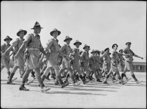 Close up of NZ Artillery troops marching past Brigadier Weir at Artillery Training Depot, Maadi, Egypt - Photograph taken by George Kaye