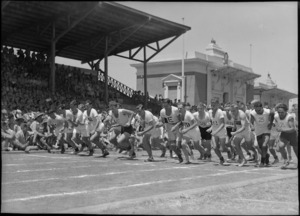 Start of the 3 mile race at NZ Division Athletics Championships, Cairo, Egypt, World War II - Photograph taken by George Kaye