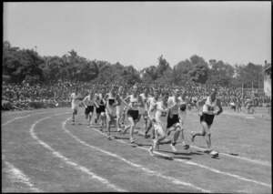 Three mile race in progress at NZ Division Athletics Championships, Cairo, Egypt, World War II - Photograph taken by George Kaye