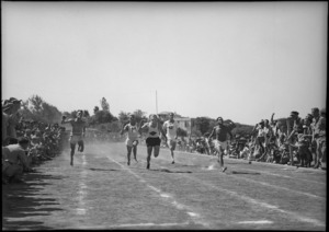 Finish of 100 yards race at NZ Division Athletics Championships, Cairo, Egypt, World War II - Photograph taken by George Kaye