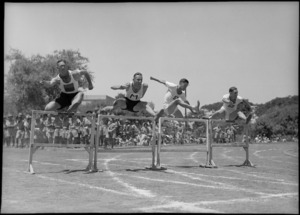 The 120 yards hurdles at NZ Division Athletics Championships, Cairo, Egypt, World War II - Photograph taken by George Kaye