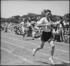 Cardwell wins the mile from Boot at NZ Division Athletics Championships, Cairo, Egypt, World War II - Photograph taken by George Kaye