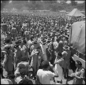 General view of crowd during lunch at NZ Division Athletics Championships, Cairo, Egypt, World War II - Photograph taken by George Bull