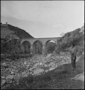Bridge withstands shelling in the Sangro River area, Italy - Photograph taken by George Kaye