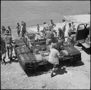 Carrier on shore after NZ Engineers experiment with amphibious bren carrier on the Nile at Maadi, Egypt - Photograph taken by George Bull
