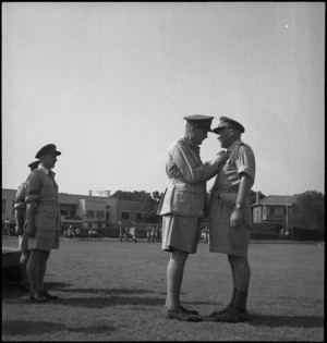 Brigadier Graham Beresford Parkinson receives DSO from General Bernard Freyberg at Maadi, Egypt - Photograph taken by George Kaye