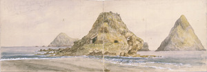 Dillbeg, Gustaf, 1858-1934 :New Plymouth from breakwater. Looking down the coast. The Sugar Loaves. Feby. 16th 1885.