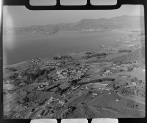 Seacliff coastal settlement with Seacliff Psychiatric Hospital and grounds with Russell Road, looking south to Blueskin Bay, Otago Region