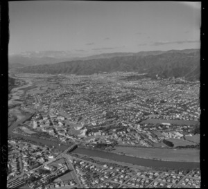 Lower Hutt City and the Hutt River in foreground looking north to the suburbs of Waterloo and Naenae, Hutt Valley, Wellington Region