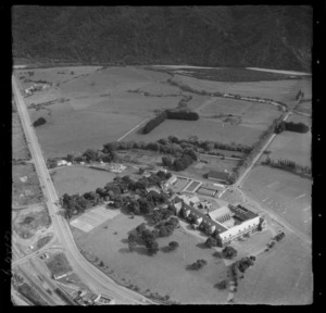 Saint Patrick's College Silver Stream with Fergusson Drive and the Hutt River beyond, Upper Hutt Valley, Wellington Region