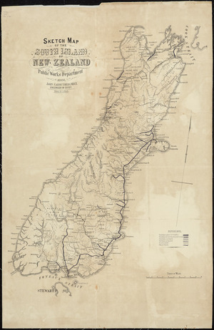 Sketch map of the North Island, New Zealand [cartographic material] ; Sketch map of the South Island, New Zealand / drawn by A. Koch.