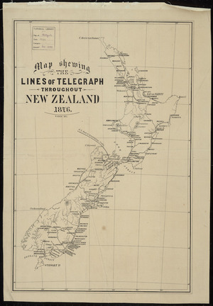 Map shewing the lines of telegraph throughout New Zealand [cartographic material] / A. Koch, delt.