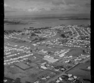 Mount Roskill with Carr and Frost Roads, looking to Hillsborough and the Manukau Harbour beyond, Onehunga, Auckland