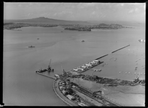 Westhaven Marina and the Auckland Harbour Bridge construction site, looking to Devonport, Auckland City