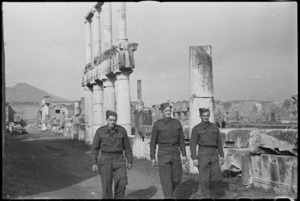 New Zealand soldiers sightseeing in Pompei, Italy, World War II - Photograph taken by George Kaye