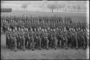 March past of NZ Army Service Corps at combined church and ceremonial parade, Volturno Valley, Italy, World War II - Photograph taken by George Kaye