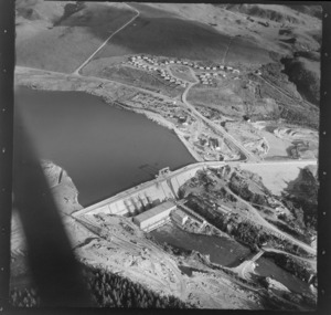 Whakamaru Hydro, Taupo, includes dam, industrial area housing and farmland