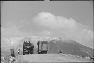 New Zealand transport on the move in NZ Sector of 5th Army Front in southern Italy, World War II - Photograph taken by George Kaye