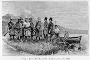 Artist unknown :Landing of Samuel Marsden at Bay of Islands, Dec. 19th, 1814. Engraving, 1913