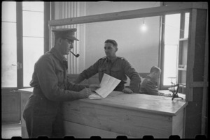 General counter at the NZ MPO in Bari, Italy, World War II - Photograph taken by George Bull