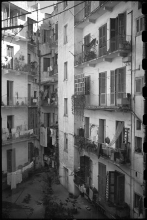 Apartment building where members of NZ PRS billetted in Bari, Italy, World War II - Photograph taken by George Bull