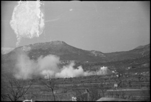 Enemy shelling and counter smoke screen near San Pietro, Italy, World War II - Photograph taken by George Kaye
