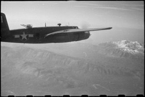 American medium bombers taking part in intensive bombing of Monte Cassino approach Mt Cairo, Italy, World War II - Photograph taken by George Bull