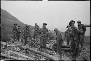 Party of NZ Infantry soldiers recently engaged in the heavy fighting around Cassino, Italy, World War II - Photograph taken by George Kaye