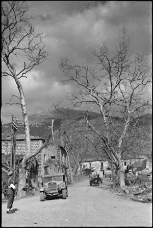 Familiar scene to personnel travelling to and from forward areas of NZ Sector of Monte Cassino Front, Italy, World War II - Photograph taken by George Kaye