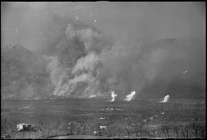 Bomb bursts and smoke from shells during bomber raid on Cassino, Italy, World War II - Photograph taken by George Kaye