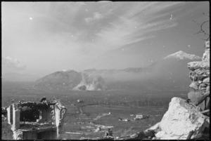 Bombs landing on the town of Cassino, Italy, World War II - Photograph taken by George Kaye