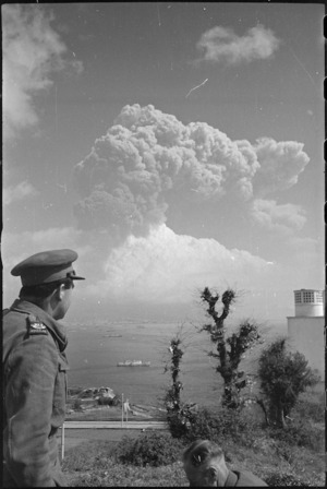 War correspondent Cedric Mentiplay observes Mt Vesuvius erupting Italy, World War II - Photograph taken by George Kaye