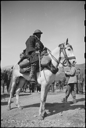Mounted French Moroccan trooper near the Cassino Front in Italy, World War II - Photograph taken by George Kaye