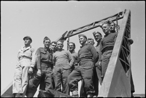 American and NZ engineers who erected a treadway in the Cassino area, Italy, World War II - Photograph taken by George Kaye