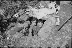 G W Skinner and R Young in the entrance of their dug-out bivvy on 5th Army Front, Italy, World War II - Photograph taken by George Kaye
