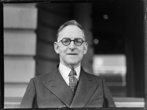 Portrait of Honourable A S Drakeford, Minister of Air Australia and Head of the Australian Air Delegation Feb 1946, Auckland