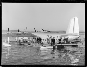 "Short Empire flying boat, ""Aotearoa"" completing 1000th crossing of Tasman, Tasman Empire Airways"