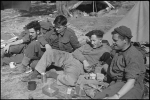 NZ Infantry personnel rest behind the line after heavy fighting on the Cassino Front, Italy, World War II - Photograph taken by George Kaye