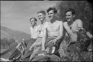 NZ Infantrymen rest immediately behind the line after the recent fighting for Cassino, Italy, World War II - Photograph taken by George Kaye