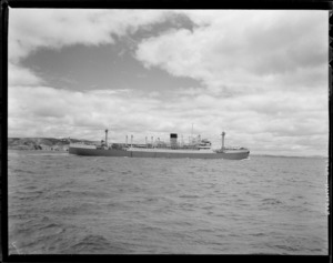 View of the Cargo Ship Port Phillip at sea, Auckland Harbour