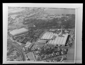 Copy photograph of a drawing showing an aerial view of the proposed Waitemata Brewery factory on site with alongside existing roads and commercial buildings, Otahuhu, Auckland