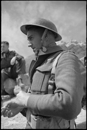 NZ soldier W H Mark on the Cassino battlefront, Italy, World War II - Photograph taken by George Kaye