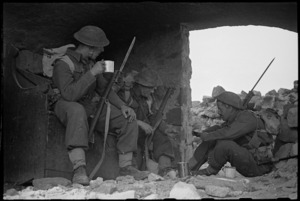 Soldiers drinking tea on manoeuvres in the Cassino area, Italy - Photograph taken by George Kaye