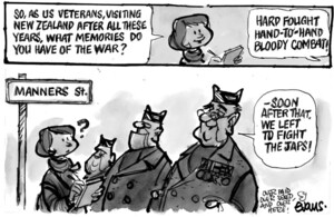 "Evans, Malcolm Paul, 1945- :""So, as US veterans, visiting New Zealand after all these years, what memories do you have of the war?"" ...28 May 2011"