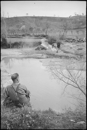New Zealand camping area on the Volturno River, Italian Front, World War II - Photograph taken by George Kaye